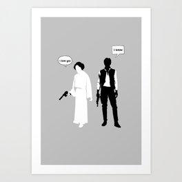 "Han Solo Princess Leia ""I Love you""  Art Print"