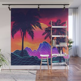 Synth Wave Wall Murals | Society6