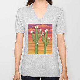 gila woodpeckers on saguaro cactus Unisex V-Neck