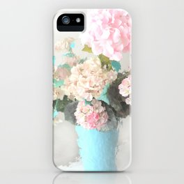 Shabby Chic Hydrangea Flowers Pink White Aqua Blue iPhone Case
