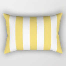 Naples yellow - solid color - white vertical lines pattern Rectangular Pillow