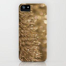 Golden Christmas Glitter Tree Decoration iPhone Case