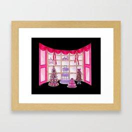 Inside The Cake Shop (on black) Framed Art Print