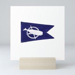 Nantucket Blue and White Sperm Whale Burgee Flag Hand-Painted Mini Art Print