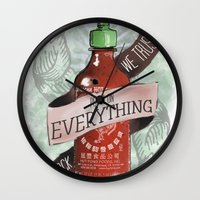 sriracha Wall Clocks featuring An Ode To Sriracha by Drunk Girl Designs