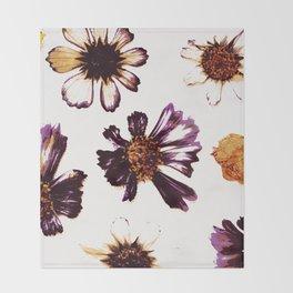 Pressed Autumn Flowers Throw Blanket