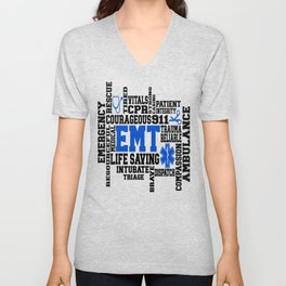 EMT Word Art Unisex V-Neck