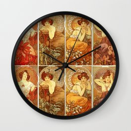 "Alphonse Mucha ""The Precious Stones (series)"" Wall Clock"