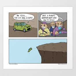 """Kia Hamsters"" - Stuck in Reverse comic Art Print"