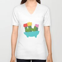 cacti V-neck T-shirts featuring cute cacti by Berlyn Hubler