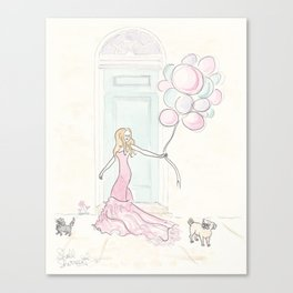 Have Balloons and Gown, Sweet Pug & Kitty Will Party Canvas Print
