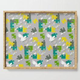 cockatoo crested yellow puzzle Serving Tray