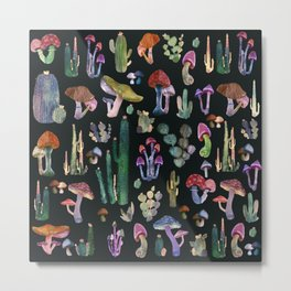 Black cactus and Mushrooms Metal Print
