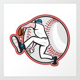 Baseball Pitcher Throw Ball Cartoon Art Print