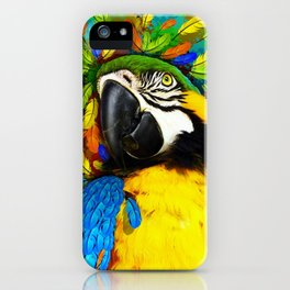 Gold and Blue Macaw Parrot Fantasy iPhone Case