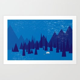 Sleeping in the blue mountains under a blanket of snow Art Print
