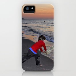 LITTLE DEVIL ON THE SUNSET BEACH iPhone Case