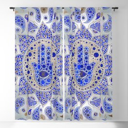 Hamsa Hand -Hand of Fatima Dot Art On Mother of pearl Blackout Curtain