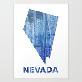Nevada map outline Steel blue clouded wash drawing paper Art Print