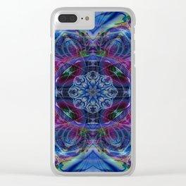 Karlion- Blue Art- Kaleidescopes- Wall Art- Pattern Art- Abstract Art- Fractal Art- Spirograph Clear iPhone Case