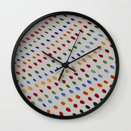 Colorful Dots In A Row Wall Clock
