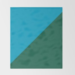 Light Blue & Army Green - 2 color oblique Throw Blanket