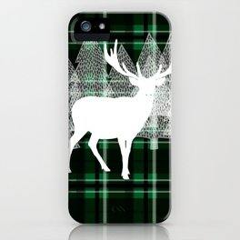 Green Plaid with Deer: Holiday Print iPhone Case