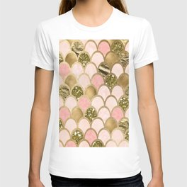 Rose gold blush mermaid scales T-shirt