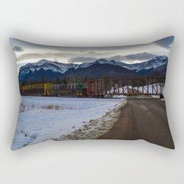 CN rolling through the Rockies, Near Brule Alberta Rectangular Pillow
