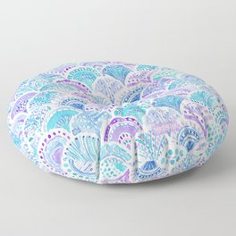 Mystical MERMAID DAYDREAMS Watercolor Scales Floor Pillow