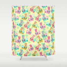 Bunnies and Daisies on Yellow Shower Curtain