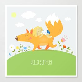 Summer card with cute cartoon  fox and the little girl. Walk two friends. Vector image. Children's i Canvas Print