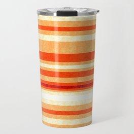 Red Orange Grunge Lines Travel Mug