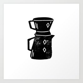 Pour Over Coffee linocut black and white lino print Art Print