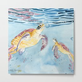 Take A Breath Sea Turtle Metal Print