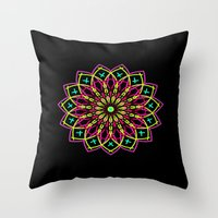 stained glass Throw Pillows featuring Stained Glass by Designs By Misty Blue (Misty Lemons)