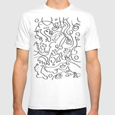 Abstract Pattern White Mens Fitted Tee MEDIUM