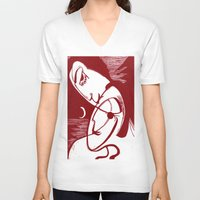 asexual V-neck T-shirts featuring Asexual Kiss By The Sea And Under A Crescent Moon by taiche