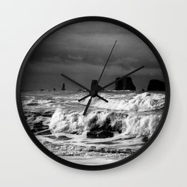 Waves Crashing on the Washington State Shoreline Wall Clock