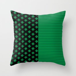 St. Patrick's Day Shamrocks And Stripes  Throw Pillow
