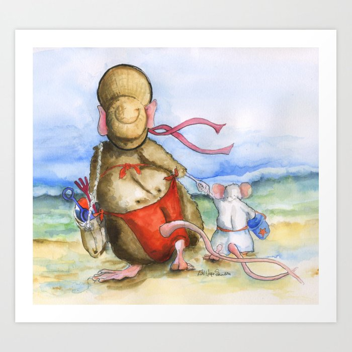 Mama and Baby Rat At The Beach Art Print