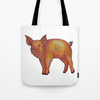 piglet Tote Bags featuring Patterned Piglet by Emilie Darlington