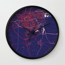 Leeuwarden, Netherlands, Blue, White, City, Map Wall Clock