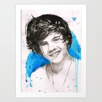 harry styles Art Prints featuring Harry Styles by Marina  Berdnikova