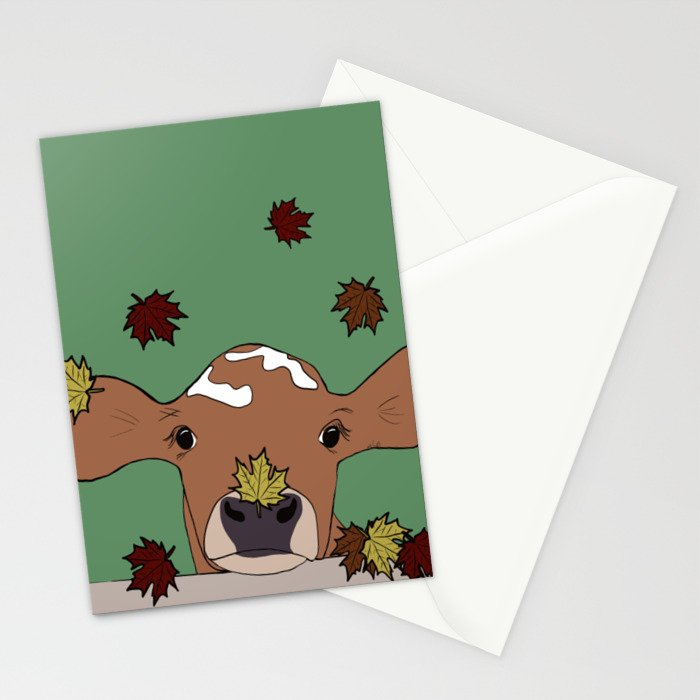 Bessie the Calf and Fall Leaves Stationery Cards
