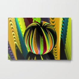 Variation in the coloured glass ball. Metal Print