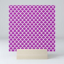 Scales (White & Purple Pattern) Mini Art Print