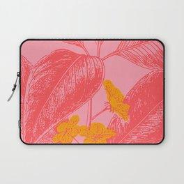 Modern Botanical Leaves in Pink Laptop Sleeve