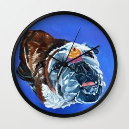 Millie the Bulldog and Her Cupcake Wall Clock