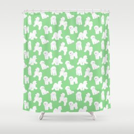 Bichon Frise Pattern (Green Background) Shower Curtain